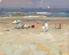 """New Blog Post: http://rosepleinair.com/seascape-plein-air-white/ Seascape Plein air:""""Morning Light – 2 in White"""" In the very early morning I saw a grandmother and grandchild walking towards the sea. I was still unpacking and at a later point Ihadpaintedthem in. Yes I did hadtaken a photo. Didn't use it. Painted it from memory. Afte... View More at: http://rosepleinair.com #FiguresBeach, #Paintingseascapes, #Roosschuring, #Seascape, #SeascapeP"""