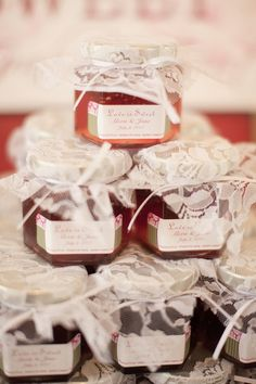 Wedding favors as displayed by our Customer at their event.  Assortment of local jams and jellies personalized is nice
