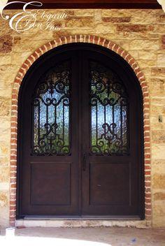 Custom wrought iron front door. Iron Front Door, Front Doors, Double Doors, Wrought Iron, Windows, Iron Doors, Facades, Little Cottages, Entry Doors