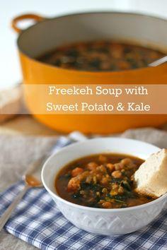 Freekeh Soup with Sweet Potato and Kale | TheCornerKitchenBlog.com # ...