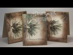 """Ornamental Pine: SU!, try peaceful wishes, Dawn""""s Stamping Thoughts.: video, artichoke and expresso ink, vanilla and kraft cs, white gel on pinecones, iridescent ice embossing"""