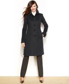 Anne Klein Wool-Cashmere-Blend Club-Collar Walker Coat