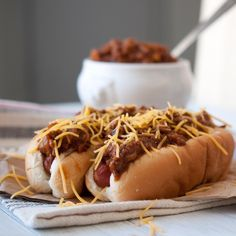 Beer Chili & Cheese Dogs for IPA Day .. Sloppy messy chili cheese dogs are my guilty pleasure!  and.. These look so great!