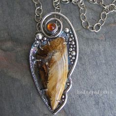 This is so beautiful!   Timeless - Petrified Wood, Amber and Sterling Silver Artisan Necklace