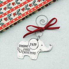 Personalized Baby's First Christmas Ornament Elephant | Etsy