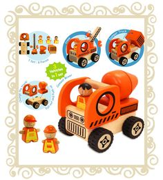 This wooden set by I'm Toy comes with one base, three workers and three different attachments, allowing you to construct a cement mixer, crane or dumper truck. Toy Cars For Kids, Kids Toys, Cement Mixer Truck, Wooden Toy Cars, Dump Truck, Toys Shop, Gifts For Boys, Baby, Construction