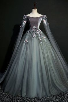 Green gray tulle long sleeve a line evening dress, long velvet prom dress Green Gray Tulle Long Sleeve Prom Dress, A Line Evening Dress, Long Velvet Prom Dress de bal longues Prom Dresses Long With Sleeves, Cheap Prom Dresses, Dress Long, Dress Prom, Long Dresses, Maxi Dresses, Long Sleeve Gown, Dresses For Balls, Prom Dresses Flowers