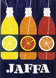 Jaffa (Finnish orange lemonade/soft drink) ad card (1959) by Erik Bruun