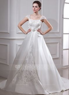Wedding Dresses - $176.99 - Ball-Gown Square Neckline Court Train Organza Satin Wedding Dress With Embroidered Ruffle Beading (002011665) http://jjshouse.com/Ball-Gown-Square-Neckline-Court-Train-Organza-Satin-Wedding-Dress-With-Embroidered-Ruffle-Beading-002011665-g11665