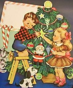 Vintage Christmas Card ~ Little Children Decorating the Christmas Tree w/ Their Dog