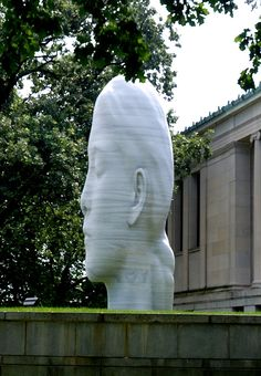 Laura by Jaume Plensa is a 20 foot tall stacked marble ( Macael marble from Spain) sculpture featured on the grounds of the Albright-Knox Gallery in Buffalo, NY.