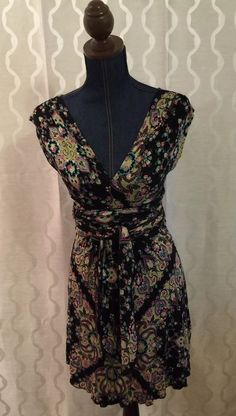 Free People Rayon Floral V-Neck Back Dress Women's Size Small (S) Sash Belt Boho #FreePeople