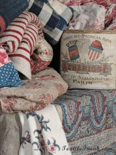 This jumble of textiles expresses what I want for my bedroom.