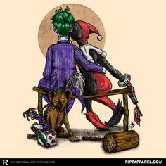 Norman Rockwell meets The Joker and Harley Quinn t-shirt at www.riptapparel.com only available 3/3/15.