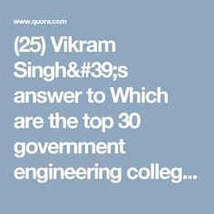 (25) Vikram Singh's answer to Which are the top 30 government engineering colleges in Maharashtra? - Quora