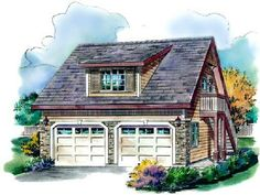 Find your dream bungalow style house plan such as Plan which is a 459 sq ft, 1 bed, 1 bath home with 2 garage stalls from Monster House Plans. Garage Apartment Plans, Garage Apartments, Garage Plans, Garage Ideas, Barn Plans, Garage House, Car Garage, Garage Studio, Bungalow House Plans