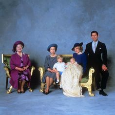 Queen Mother, Queen Elizabeth II, Prince William, Prince Harry and the Prince and Princess of Wales after the christening ceremony of Prince Harry. The Queen has eight grandchildren and five great-grandchildren. 1984