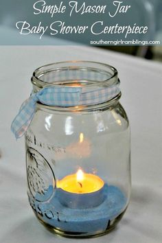 Simple Mason Jar Baby Shower Centerpiece