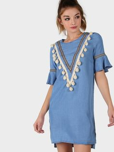 Online shopping for Pom Pom Short Sleeve Dress CHAMBRAY from a great selection of women's fashion clothing & more at MakeMeChic.COM.