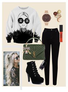 """Basic for Autumn"" by mgldemartino ❤ liked on Polyvore featuring Chanel, EAST, Yves Saint Laurent, Maybelline, Olivia Burton, Vintage, black, YSL, ArianaGrande and gabriellademartino"