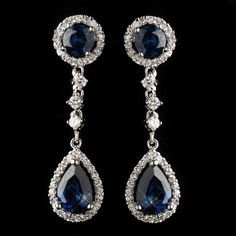 Sapphire CZ Rhodium Plated Formal and Wedding Earrings - Affordable Elegance Bridal -