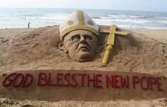 Sand sculpture of newly-elected Pope Francis seen on beach in India: A sand sculpture of the newly-elected Pope Francis, created by Indian artist Sudarshan Patnaik, is seen on a beach in Puri, India, March 14. (CNS photo/Reuters)