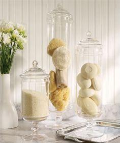Bathroom vanity - decorative soaps, loofahs and sponges - Sandra Downie via The White Library