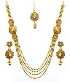 8697fef47df83a YouBella Antique Kundan Traditional Maharani Temple Necklace Set / Jewellery  Set with Earrings for Women YouBella