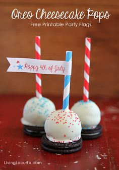 Easy No Bake Oreo Cheesecake Pops with Free 4th of July Party Printables by LivingLocurto.com