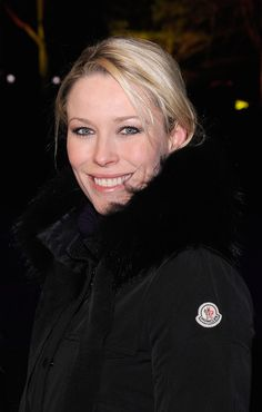 Kiera Chaplin wearing a Moncler down quilted coat.
