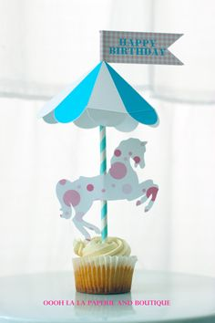 MerryGoRound Horse Cake Topper with by ooohlalapaperie on Etsy, $8.50