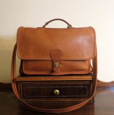 Coach Metropolitan Style British Tan Leather Briefcase Attache Laptop IPad Carrier -VGC Made In The United States by ProVintageGear on Etsy