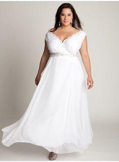 Los vestidos de corte griego vuelven a estar de actualidad en el mundo de las novias y por eso, los vestidos para matrimonio civil para gorditas se empapan del mismo. Siéntete una princesa con este vestido de novia en gasa
