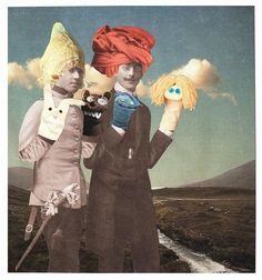 https://flic.kr/p/dtxYW3 | Leo & Pipo with hats and sock puppets, by Lynn Skordal | www.flickr.com/photos/paperworker/