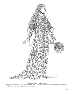 "century Italian bride, from ""Medieval fashions"" by Tom Tierney Medieval Fashion, Medieval Clothing, Coloring Book Pages, Coloring Pages For Kids, Medieval Fantasy, Historical Costume, Free Coloring, Colorful Fashion, Fashion History"