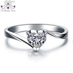 76c3fa8f728b Comprar Anillo de casamiento o compromiso de plata esterlina 925 real  bañado en oro de 18 quilates con corazón de amor de diamantes de imitación  de zirconia ...