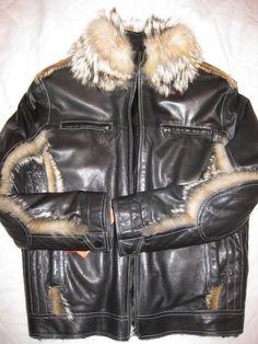 Aviator Leather Bomber Flight Wolf Jacket FUR Toscana MEN NEW Exclusiv Unique L | eBay