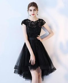 Black lace prom dress, homecoming dress, short dress for prom 2018 #prom #dress #promdress #promdresses