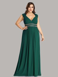 30b89385de7aca Plus Size Sleeveless Grecian Style Evening Dress