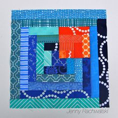 Modern Log Cabin | Flickr by jennyrach.  Block made for the Quilt Block Throwdown sponsored by the Atlanta Modern Quilt Guild.