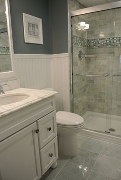 Beach condo bathroom, Ming green marble tile                                                                                                                                                                                 More