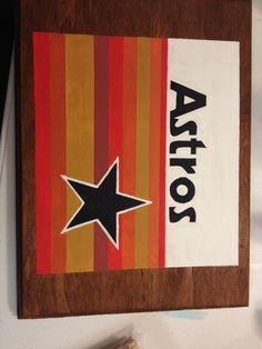 MLB Astros Logo on wood plaque