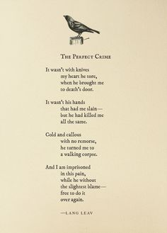 The Perfect Crime ~ Lang Leav