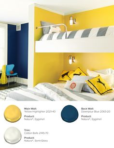 Don't limit your child's room to just one color- consider using two or more colors for a look that expresses a young personality. Main Wall: Yellow Highlighter 2021-40, Natura®, Eggshell // Back Wall: Downpour Blue 2063-20, Natura®, Eggshell // Trim: Cotton Balls 2145-70, Natura®, Semi-Gloss.