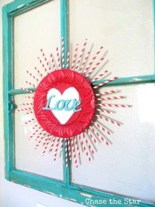 This valentines decoration of valentine sunburst is cute for any size house or budget! Also includes more valentines heart decoration ideas for your home!