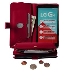 Monica [ZIPPER POUCH] Premium Leather [STANDING] [CARD SLOT] Flip Cover Wallet #Case for LG G4 (Red)