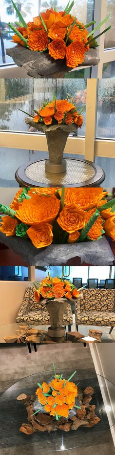 Vase of flowers made from orange masking tape. (With green masking tape for the leaves and silver/gray masking tape for the vase. Sculpture Art, Sculptures, Linear Art, Flower Vases, Flowers, Tape Art, Masking Tape, Leaves, Rooms
