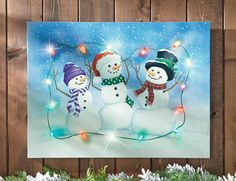 LED Lighted Winter Snowman Wall Canvas Art