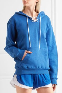 Koza - Surfy Surfy Appliquéd Cotton-blend Jersey Hooded Top - Bright blue - small