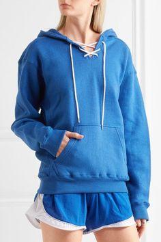 Koza - Surfy Surfy Appliquéd Cotton-blend Jersey Hooded Top - Bright blue - small